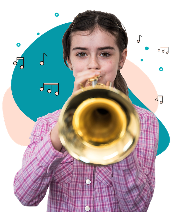 Photo of girl playing the trumpet - trumpets available for sale at McKenzie Music Etcetera in Toowoomba, QLD.